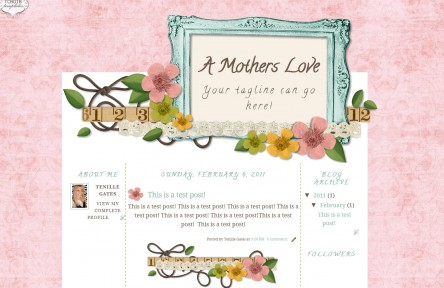 a mothers love 3 column free cute scrapbook chic blog template layout