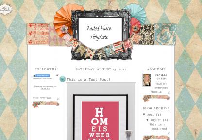 fadedfaire3column free blogger template cute