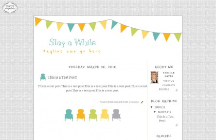 stay awhile 2 column free cute blog template layout