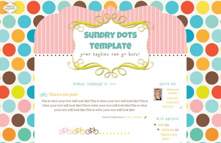 sundry dots 2 column free cute modern chic blog template layout