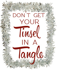tinsel and a tangle button
