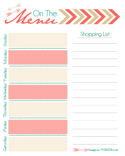 Free menu planner free menu printable free menu for Planning on line