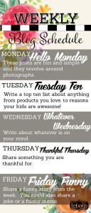 WEEKLY BLOG SCHEDULE